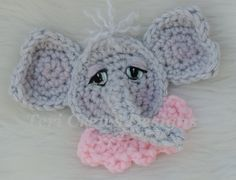 Cute Elephant Applique Crochet Pattern Instant by TeriCrewsCrochet - so very cute!  Wouldn't it look great on a blankie for your little girl!