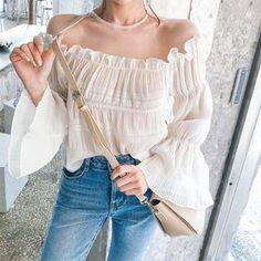 #Spring #AdoreWe #YesStyle - #DABAGIRL Off-Shoulder Bell-Sleeve Shirred Blouse - AdoreWe.com