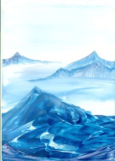 blue mountain top of my encaustic art paintings