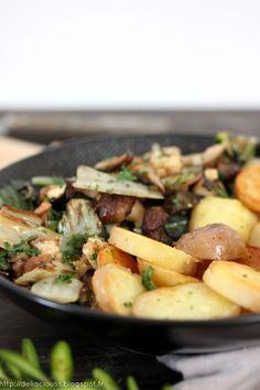 Repas réservé au regain d'hiver version printemps 2016 : blettes, pommes de terre et shiitakés