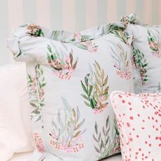 "Spring has sprung with these ""Lara"" custom pillows! Design by @laurenrobbinsinteriors"