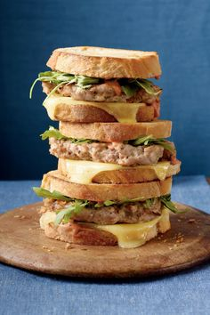 Turkey Burger Patty Melts - Pecan Recipes - Southernliving. Recipe:Turkey Burger Patty Melts  Never eat a bland turkey burger again! Mix toasted pecans, Gorgonzola cheese, and garlic salt with ground turkey to form the patties. A cranberry-Dijon mustard sauce serves as the perfect condiment to the layers of grilled bread, Monterey Jack cheese, arugula, and favorful turkey burgers.