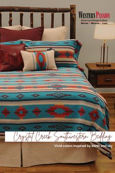 If bright and bold patterns describe your style, you might just have to look into our Crystal Creek Bedding! Plus, did we mention that it's on SALE? #WesternPassion #UnleashPassionForWestern #comforterset #beddingset #southwesternbedding #comforter #pillowcase Southwestern Bedroom, Western Decor, Rustic Elegance, Bedding Collections, Comforter Sets, Vivid Colors, Home Furnishings, Pillow Cases, Houses