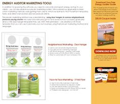 Click Here: http://diygreenpowerforhome.com/Energy_Audit_Institute.php        http://diygreenpowerforhome.com      ENERGY AUDITOR MARKETING TOOLS In addition to receiving the software you need to calculate and report energy savings to your clients - you will also receive our proven marketing system. We surveyed our graduates to learn which marketing methods were getting them clients. What we learned is that PowerPoint templates, flyers, and direct mail solutions did not produce clients.