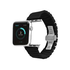 Ceramic Links Bracelet Watch Band Strap Deployant Clasp - Black