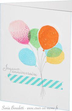 """Pour cette 5ème création, voici une carte simple et rapide à réaliser avec le set de tampons """"bouquet de ballons"""" (réf 141035 à 31€) et la perforatrice assortie bouquet de ballons (réf 140609 à 22€) En plus des tampons, vous avez juste besoin des encreurs... Pour..."""