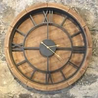 | Large Wood and Metal Round Clock  - 1