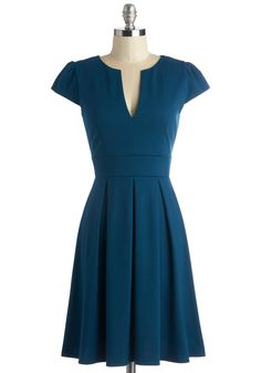 Meet Me At the Punch Bowl Dress in Oceanside - Blue, Solid, Work, A-line, Short Sleeves, Variation, Mid-length, Vintage Inspired, 50s, 60s