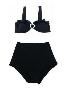 Black Heart Bow Top and Black High Waisted Swimsuit by venderstore, $39.99