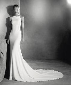 Emmett - Vestido de novia estilo sirena y tejido de crepe