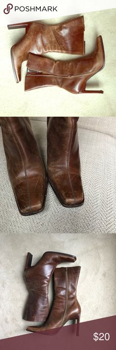 """Steve Madden brown leather Mid calf boots Steve Madden brown leather boots.  Distressed boots.  12.5"""" height and 4"""" heel. I have other shoes in my closet.  Check it out and save 15% if you bundle two or more! Steve Madden Shoes Heeled Boots"""
