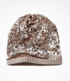 SLOUCHY SEQUIN BEANIE at Express just a tad obsessed with rose gold