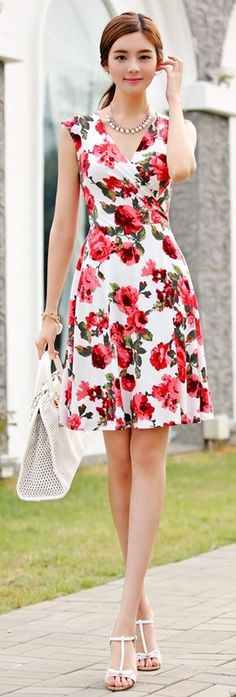 Korean Fashion Online Store 韓流 Trends Luxe Asian Women 韓国 Style Shop korean clothing Vivid Flowers Dress – Pin us Trendy Dresses, Sexy Dresses, Cute Dresses, Beautiful Dresses, Casual Dresses, Fashion Dresses, Summer Dresses, Summer Clothes, Fashion Clothes