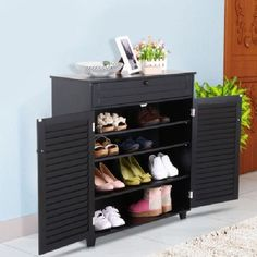Shoe Storage Cabinet With Doors Rack Box Stand Shelves Organizer Black Entryway #Yaheetech #Contemporary