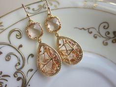 Champagne Peach Earrings Pink Gold Twisted Design - Bridesmaid Earrings Wedding Earrings Christmas Gift. $39.00, via Etsy.