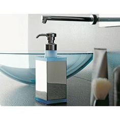 Toscanaluce by Nameeks Eden Free Standing Square Brass/Plexiglass Liquid Soap Dispenser Finish: Blue