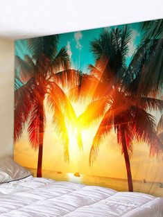 Coconut Palm Sunshine Pattern Wall Tapestry Decoration - multicolor W91 INCH * L71 INCH