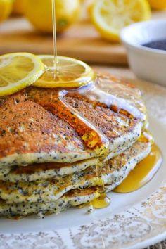 bright lemony pancakes with poppy seeds