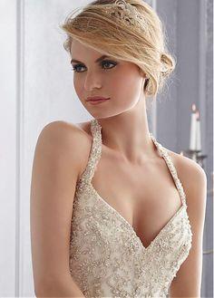 Elegant Organza Satin Halter Neckline Natural Waistline Mermaid Wedding Dress With Embroidered Beadings & Lace Appliques
