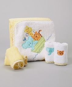 Look at this SpaSilk Yellow Animal Boat Hooded Towel Set on #zulily today!