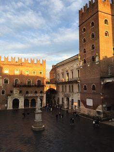 Piazza dei Signori in Verona late afternoon in the winter