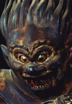 A photograph of a Century statue of Raijin, God of Thunder at the Sanjusangen-do Temple in Kyoto, Japan taken by Ken Domon Japanese Culture, Japanese Art, Japanese Temple, Supernatural Beings, Thunder And Lightning, Demonology, Japan Photo, Asia, Buddhist Art