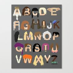 Harry Potter Alphabet Stretched Canvas by Mike Boon