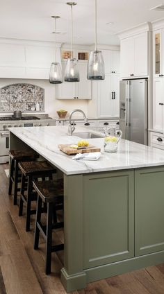 "( Top ) Green Kitchen Cabinets - "" Good for Kitchen? "" Get Ideas. - ( Top ) Green Kitchen Cabinets – "" Good for Kitchen? "" Get Ideas. Moss Green and W - Kitchen Cabinet Inspiration, Interior Design Kitchen, Green Kitchen Cabinets, Kitchen Interior, Home Kitchens, Green Kitchen Island, Kitchen Remodel, Kitchen Renovation, Kitchen Island Decor"