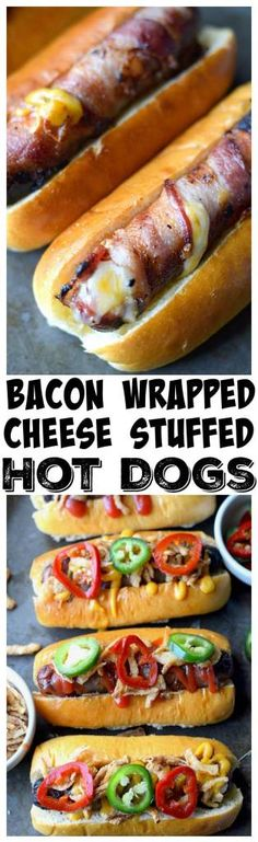Bacon wrapped, cheese stuffed hot dogs are a super simple summer meal, with a slight twist. Topped with Crispy Onions and Jalapenos and always a hit! Wrapped Hot Dogs, Bacon Wrapped Hotdogs, Grilling Recipes, Pork Recipes, Cooking Recipes, Game Recipes, Grilled Cheese Hot Dog, Fingerfood Party, Hot Dog Recipes