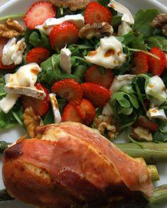 Kylling med spekeskinke og chevre salat