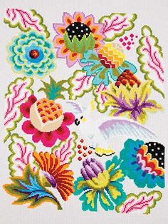 Cross-Stitch - Wall Hanging Patterns - Animal Patterns - Parrot Floral II