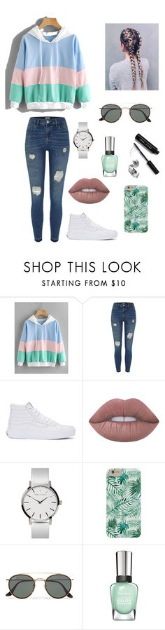"""""""Untitled #245"""" by britney-pitts ❤ liked on Polyvore featuring River Island, Vans, Lime Crime, Ray-Ban, Sally Hansen and Bobbi Brown Cosmetics"""