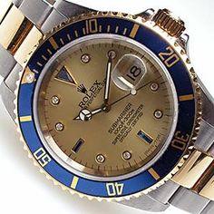 ROLEX SUBMARINER MENS WATCH 18K STEEL SERTI & BLUE DIAL 16613 Z# 2006