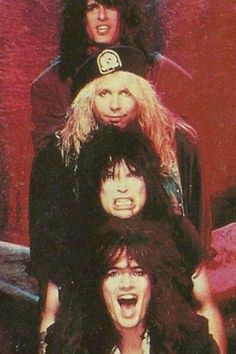 Motley Crue: (Top to Bottom) Nikki Sixx, Vince Neil, Mick Mars, and Tommy Lee