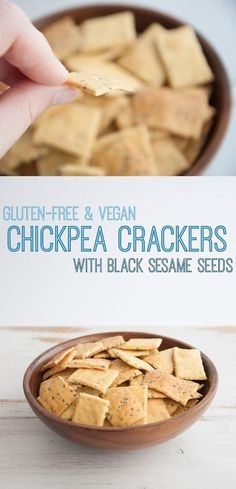 Leave out oil. Recipe for quick & easy, vegan gluten-free Chickpea Crackers. They're perfect for parties or as a healthy snack. For these you'll need chickpea flour. Gluten Free Baking, Vegan Gluten Free, Gluten Free Recipes, Vegan Recipes, Cooking Recipes, Dairy Free, Top Recipes, Nut Free, Sin Gluten