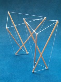 Tensegrity structure (general form of geodesic domes), which has tension and compression lines, none of which touch.