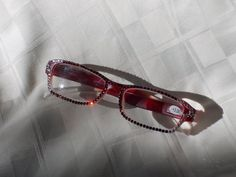 Swarovski 3.00 readers, Burgandy/Red to Clear Frames Sparkling with Siam, Clear and Stars by jamaartbeads. Explore more products on http://jamaartbeads.etsy.com