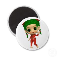 Cute Christmas Doll Waving Refrigerator Magnet by Graphic Allusions. $3.70 per magnet. #christmas #magnets #decorations #cute