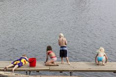 sweden kids on dock swimming pictures