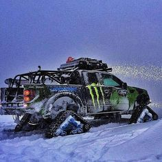 Ken Blocks Ford Raptor Tracks vehicle having fun in the snow! Diesel Trucks, Custom Trucks, Cool Trucks, Pickup Trucks, Cool Cars, My Dream Car, Dream Cars, Vw Bus, Pick Up
