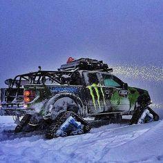 Ken Blocks Ford Raptor Tracks vehicle having fun in the snow! Diesel Trucks, Custom Trucks, Cool Trucks, Pickup Trucks, Cool Cars, Vw Bus, Pick Up, Bug Out Vehicle, Vehicle Wraps
