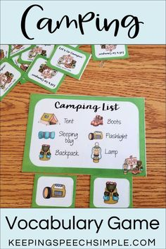 This camping themed matching game is a fun way to target fall and summer vocabulary related to camping. This fun game is great for speech therapy, preschool, special education classes and kindergarten. Great to use in centers. Use during speech therapy sessions for language development or as a basic turn taking activity. Use as a reinforcement during drill work for speech therapy sessions. A great addition to your summer and fall activities. Fun and easy to use langauge activity!