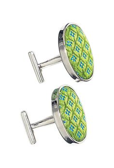 Green cuff links by Thomas Pink