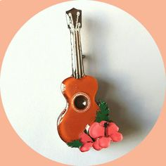 Tropical Ukulele Brooch with Hibiscus Flowers, Vintage Inspired, Novelty brooch…