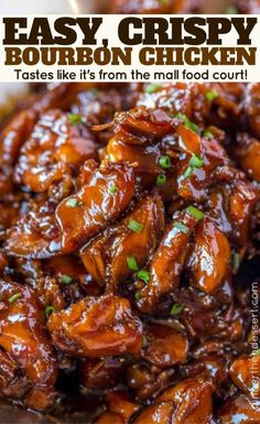 Easy Bourbon Chicken - Dinner, then Dessert - Chicken Recipes Crock Pot Recipes, Easy Chicken Recipes, Asian Recipes, Cooking Recipes, Healthy Recipes, Chinese Food Recipes Chicken, Bourbon Street Chicken, Cooking Kale, Healthy Vegetarian Recipes