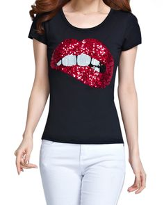 Bite Your Lip Sequin Tee from The Shopping Bag