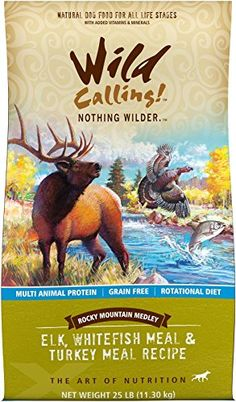 Wild Calling Rocky Mountain Medley ElkWhitefishTurkey Meal 25 lb * To view further for this item, visit the image link.