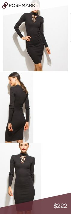 """Ribbed Sweater Bodycon!! *STOCK PHOTOS ARE PROFESSIONAL AND HAVE DIFFERENT LIGHTING *  Awesome! black ribbed Bodycon, with lace up design in front. This is the perfect LBD! You might wear this dress all the time,  its perfect for all occasions!   69% Rayon 31% polyester   Model is wearing  a small. ( Juniors sizes)   APPROX: B 23"""" W 23.5  Hip 34"""" Dresses"""