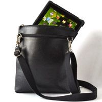 How do you carry your e-readers and tablets? Here's our answer: a simple-but-luxurious leather cross-body bag! $135 #tablet #ereader