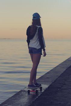 Skate sunset bridge skater girl